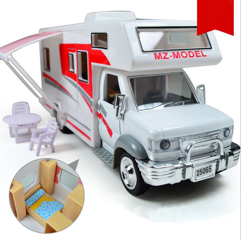 New 1:28 RV furniture assembled more doors open sound and light back to the force alloy car models, children's play house toys(China)