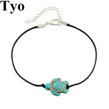 2017 New Fashion Animal Turtle-shaped Anklet Accessories Women Anklet Leather Size Adjustment Trendy Charm Jewelry Beach Chain(China)