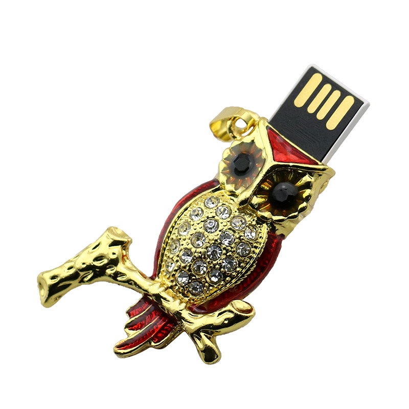 Animal USB Flash Drive Metal Diamond Owl Pendrive Nighthawk Pen Drive 4GB 8GB 16GB 32GB 64GB USB Memory Stick Gift With Necklace 39