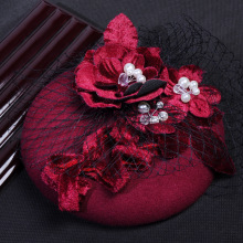 Korean Wine Red Velvet Pearl Veil Hat For WOmen Vintage Linen Flower Wedding  Fascinator Hair Accessories Party Show Headpiece