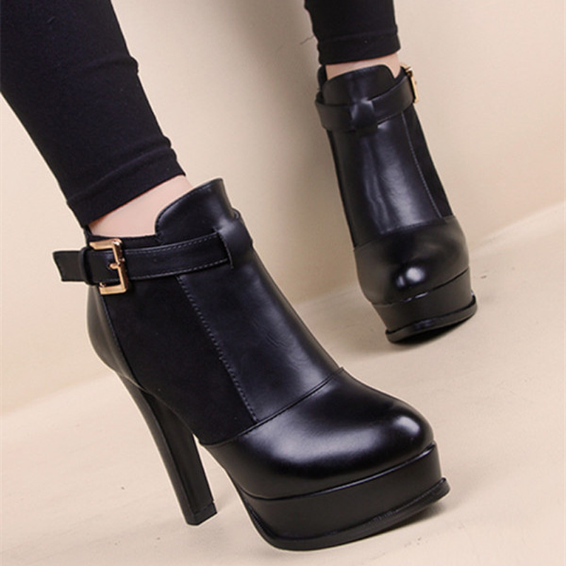 Plus Size 43 Women Boots 2017 Fashion black Bottom Boots High Heels Pu Suede Leather Shoes Ankle Boots Winter Boots<br><br>Aliexpress