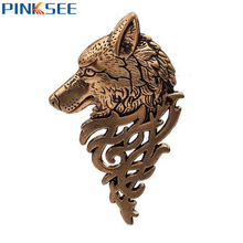 Retro Wolf Shaped Badge Brooch Lapel Pin Shirt Suit Collar Jewelry For Men Animal Brooches Accessories Gold Bronze