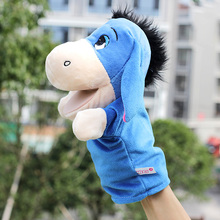 Puppet toys animal hand puppet toys 26cm Nylon Blue donkey Appease plush dolls kids toys for kids Children animal Finger puppets(China)