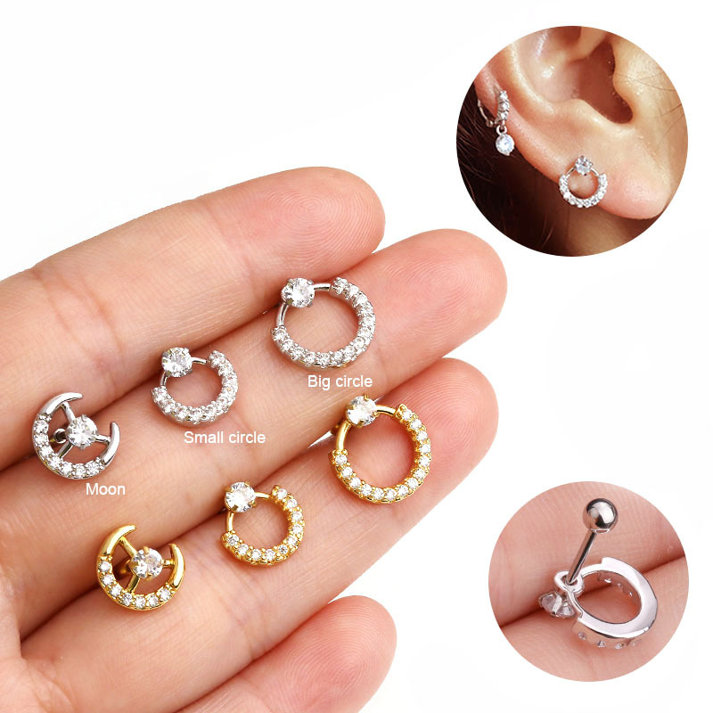1 PCS Easy To Put On Ear Popular Rose Gold Color CZ Hoop Earring Daith Tragus Helix Lobe Piercing Jewelry New