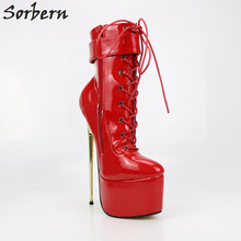 Buy Sorbern Sexy Red Shiny Ankle Boots Unisex Fetish Shoes Ladies Ultra High Heel Short Boots Women Plus Size Metal Gold Heels 9