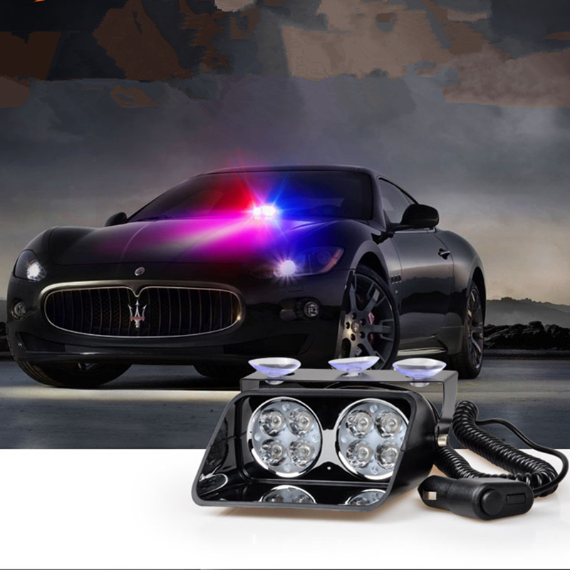 2x4 8LED Strobe Flashing Led Warning Lights EMS Police Lights S8 Firemen Emergency High Power 24W Red Blue White Amber Yellow<br><br>Aliexpress