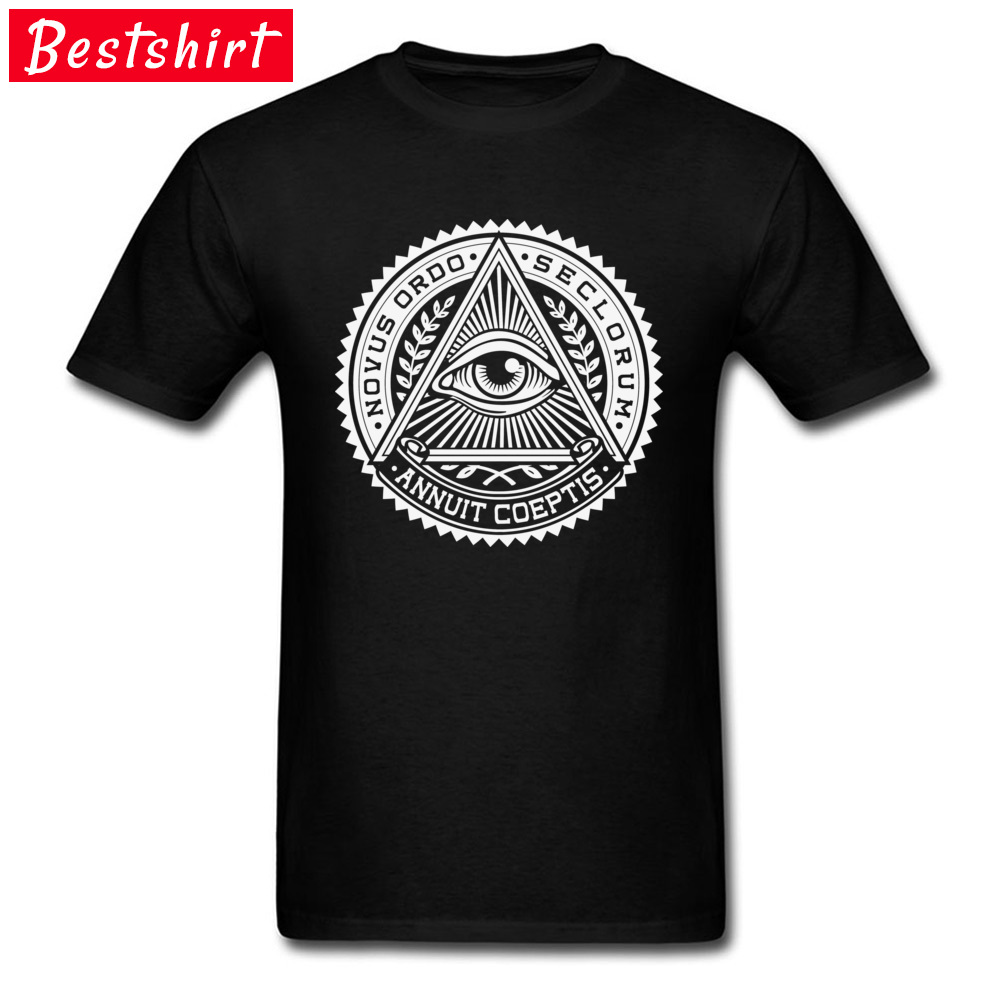 Casual Eye of providence O-Neck T Shirt Summer Tops & Tees Short Sleeve for Men Prevalent Pure Cotton Normal Top T-shirts Eye of providence black