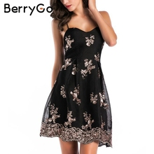 Buy BerryGo Mesh embroidery sequin sexy dresses women Elastic strap lace christmas party dress Female black mini dress vestidos for $18.99 in AliExpress store