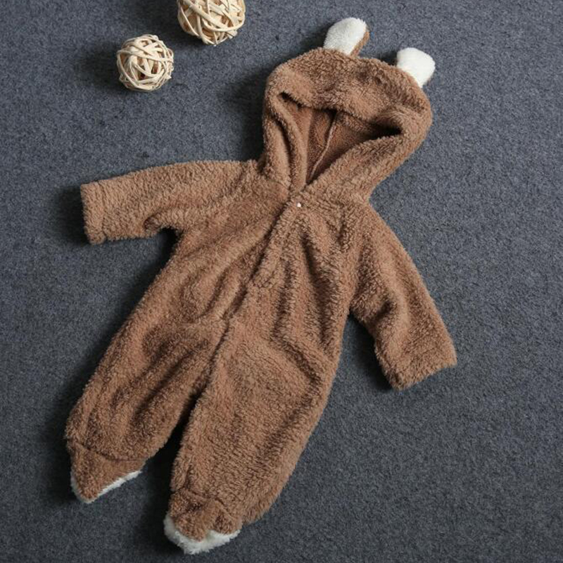 2017 Longsleeve Coral Fleece Romper With Tail  Cute Winter Warm Infant Baby Romper Cartoon Jumpsuit Boys Girls Animal Overall<br><br>Aliexpress