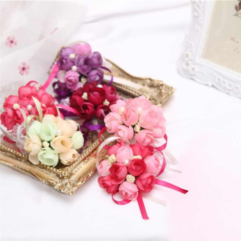Girls Bridesmaid Wedding Prom Party Artificial Flower Wrist Flowers Corsage Bracelet Fabric Hand Flowers with Elastic Wirstband