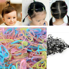 Feitong Kids Elastic Hair Bands For Girls Colorful Scrunchy Hair Rope Ponytail Girls Rubble Band Kids Accessories Drop Shipping(China)