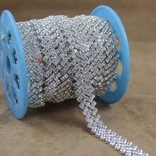 1Yard 15mm Sparkly Close set Czech clear crystal rhinestone chain Diamante  Trim in Silver For DIY Browbands Wedding dress Making a52fc7011908