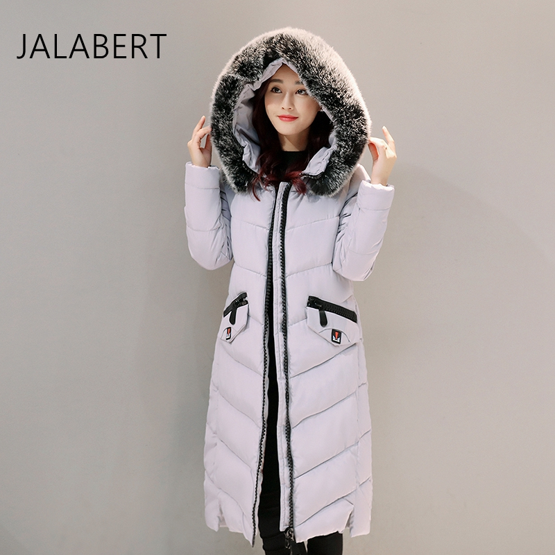 2017 new winter women cotton jacket long Slim thin big Fur collar hooded female solid zipper pattern parkas coatÎäåæäà è àêñåññóàðû<br><br>