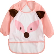 Cute Infant Waterproof Apron Clothing 1-3 Years 9 Colors Children Bib Cartoon Printed Long Sleeve Baby Bib