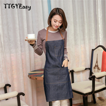 New Hot Sale Aprons Cowboy Simple Antifouling Uniform Unisex Denim Aprons for Woman Men's Kitchen Chef Cooking pinafore WQ008