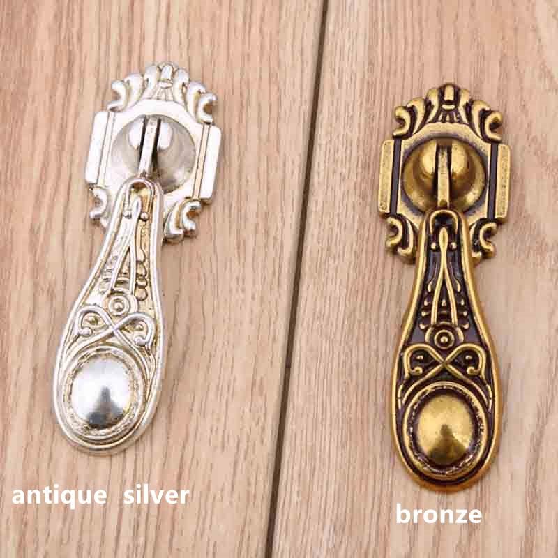 europe vintage distress silver drawer cabinet knobs pulls bronze drop dresser handles knobs retro shaky pendant  furniture knobs<br><br>Aliexpress