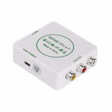 HDMI to AV CVBS Video Audio Signal Converter Adapter For TV VHS VCR DVD Support Standard NTSC PAL Formats Output White