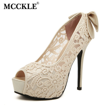 MCCKLE Women's Sexy Peep Toe Lace Party Shoes Fashion Hollow Out Platform Bowtie Pumps 2017 New Elegant High Heels Lady Sandals