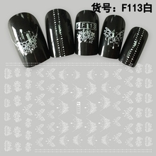 Nail Sticker Lace Nail Sticker Nail Sticker Black and White Flower Nail Art Water Decals Transfer Stickers  Manicure Decoration