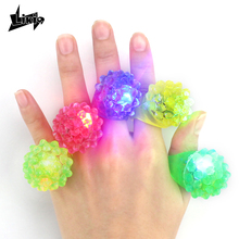 Likiq Luminous Finger Ring Flashing LED Light Up Toy Soft Silicone Strawberry Glowing Rings for Girl Kids Children Event Party(China)
