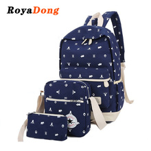 RoyaDong 2017 Printing Backpacks Set Women Canvas Animal Prints Candy Color Cute Children School Bags For Teenage Girls(China)