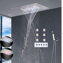 Modern Shower Faucets Set Ceiling Recessed LED Rain Shower Set Waterfall Massage Shower Panel Body Shower Jets Bathroom Bath Set(China)