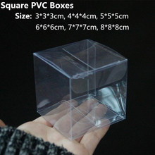 50pcs/lot Small Size Square PVC Plastic Packaging Box Cookies Candy box Clear Transparent Wedding Favor Gift Boxes