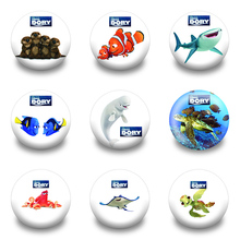 9pcs Cartoon Finding Dory Brooch Pins Printed Badges Round Button Clothes/Bags Accessories Kid Gift Party Favor Supplies