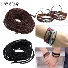 Wholesale 5m/lot Manmade Braided Leather Cord Hemp Rope 3mm for Jewelry Making Bracelet Necklace(China)