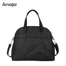 Arnagar 3D Print Gun Bag PU Leather Shoulder Crossbody Bag For Women Rivet Messenger Bag Ladies Handbag Famous Brand Pistol Bag