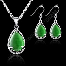 JEXXI Classic Women Wedding Jewelry Sets Fashion 925 Sterling Silver Water Drop Green Crystal Pendant Earring Necklace Sets(China)