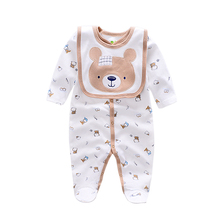 2017 cotton Baby Rompers animal style infant Boy rompers Jumpsuit+bib babies 0-12m baby wear Baby girl Rompers Newborn Clothes(China)