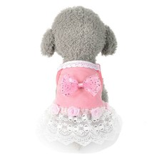 Summer Pet Clothes Rose Dress Dog Dress for Small Dog Princess Wedding Skirt Luxury Clothing for Dog Soft Lace(China)