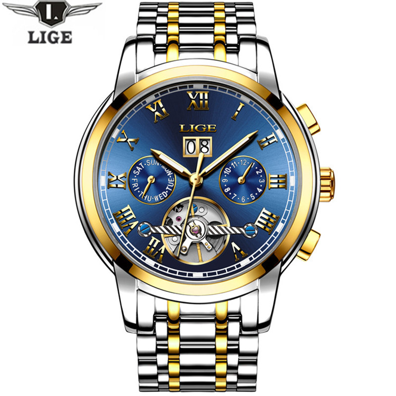 LIGEmens Watch Top Brand Luxury Mechanical Watch Mens Fashion Date Clock Steel Strap Fashion Casual Watch Mens Military Watch<br>