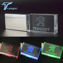 Trangee Crystal USB Flash Drives for PEUGEOT Logo with LED Light 4GB 8GB 16GB 32GB USB 2.0 Flash Disk Stick Pen Drive