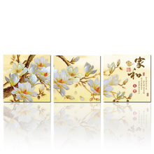 Modern Chinese Magnolia Flower Painting Word Art Canvas Print Art Triptych Canvas Artwork  Wall Decoration NO FRAME  3pcs/set