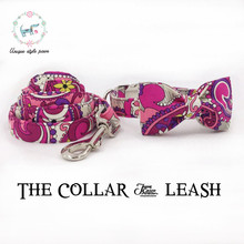 the pink flower dog  collar and leash  with bow tie  dog and cat trainning collar and leash