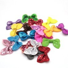 700pcs/lot DHL Free Shipping Hair Flower without clips Sequin Bows Knot Appliqued,Girls' Hair Accessories Sequin Hair Bows