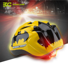 Basecamp Children Bicycle Helmets Hero Style Safety Bike Helmet Night Light Ultralight Breathable Cycling Kid Helmet