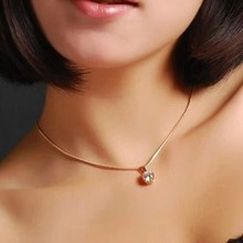 DCM Free Shipping  Zirconia Fashion Necklace Rose Gold Color Austrian Crystal Wholesale Girls choker Gift for women