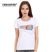 CHRLEISURE XS-XL 3D Bra T-shirt Leopard Stripes Print Women Cotton Tops Tees Big Size Casual Summer Tshirt Big Chest Tee Shirt(China)