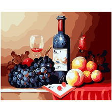 Still life red wine grape photo picture Paint By Numbers Modern Wall Art Picture Acrylic Paint Unique Gift For Home Decor 40x50(China)