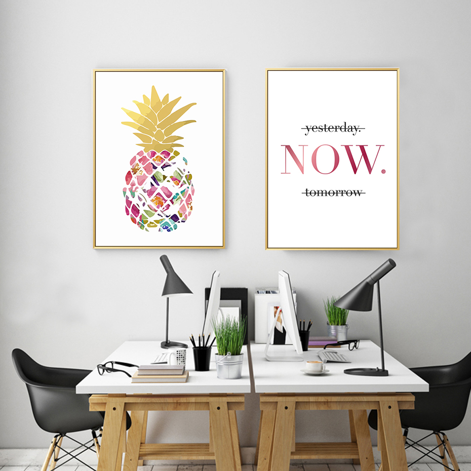 Modern Yellow Gold Pineapple Today Quotes Canvas Paintings Wall Art Nordic Posters Pictures For Office Living Room Home Decor 3