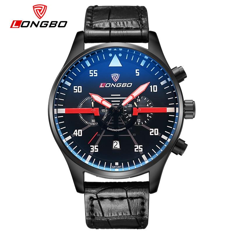 LONGBO Mens Watch Single Display Date Quartz Leather Casal Wristwatch New Relogio Masculino 80175 Luminous 30m Waterproof<br>