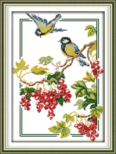 Joy sunday animal style Birds and berries needlepoint christmas ornaments kits for hand cross-stitch(China)