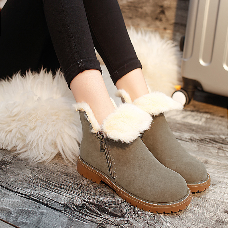 New Winter Boots For Women Plush Velvet Warm Ankle Botas Mujer Suede Lady Flat Shoes Womens Solid Martin Boots Warm Platform<br><br>Aliexpress