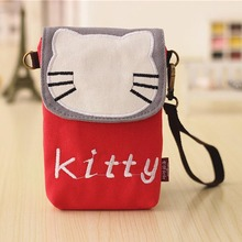 2017 New Fashion Hello Kitty Tassel Bag Mini Mobile Phone Bag Messenger Bag Cellphone Pouch Holder for iPhone Samsung for Xiaomi(China)