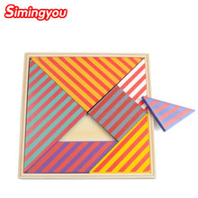 Simingyou Toys Hobbies Large Colored Striped Jigsaw Puzzle Baby Hands Wooden Montessori Toys B40-218 Drop Shipping