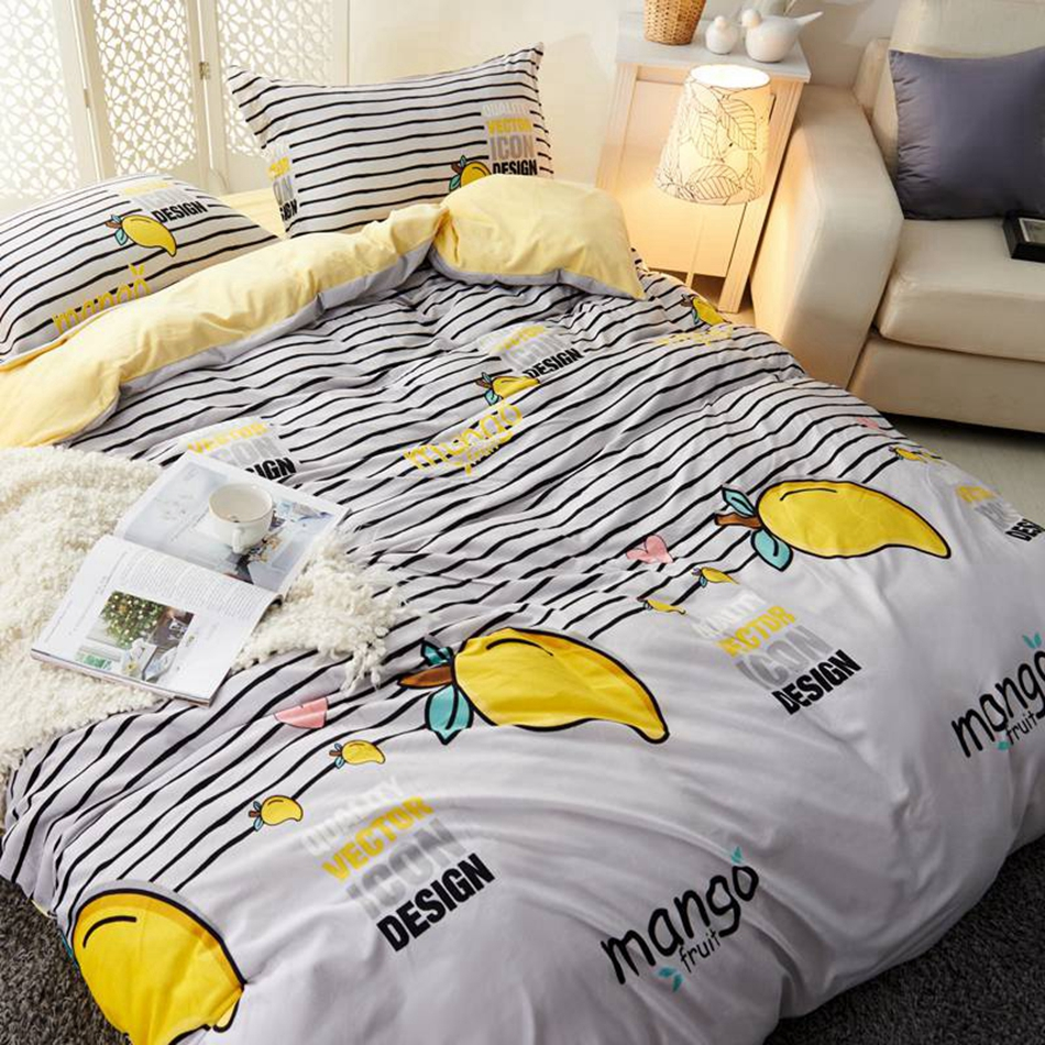 Grey Mango Flannel Duvet Cover Set Queen King Size Bedding Sets For S Fleece Fabric Yellow Bed Sheets