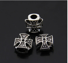20pcs/lot 11*11mm fashion Antique DIY beaded material Beads handmade Tibetan silver cross Accessories